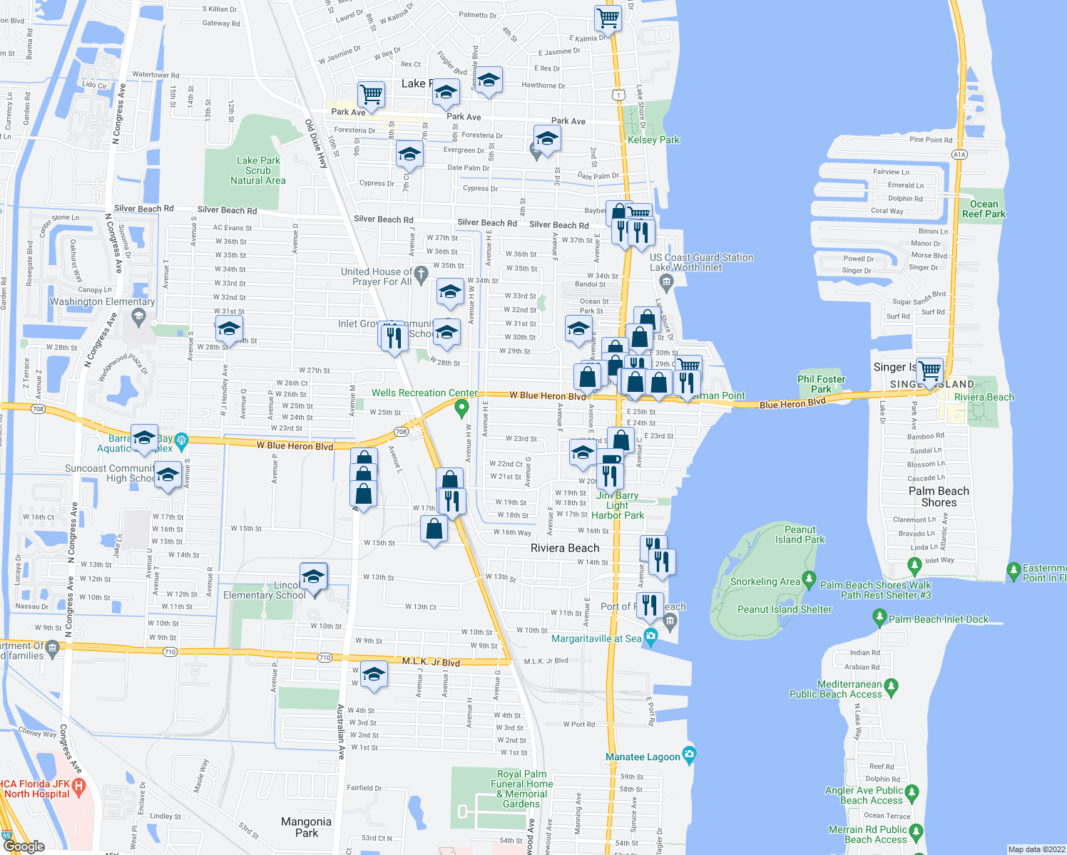 map of restaurants, bars, coffee shops, grocery stores, and more near 261 West 24th Street in Riviera Beach