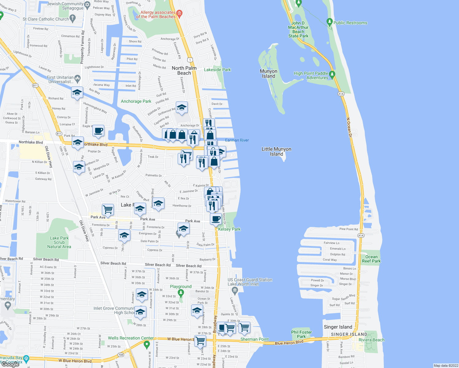 map of restaurants, bars, coffee shops, grocery stores, and more near 1100-1198 N Bay Reach Cir in Lake Park