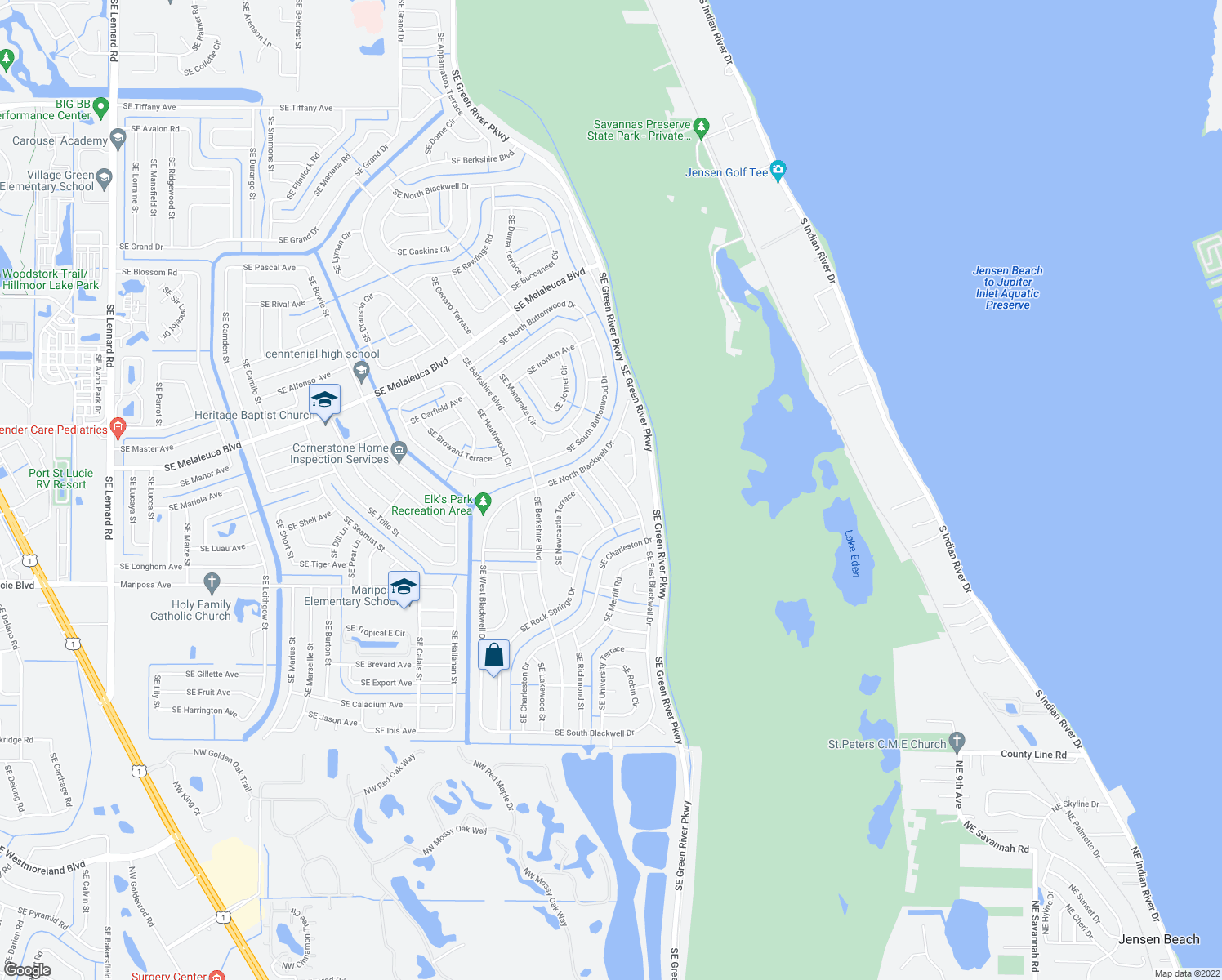 map of restaurants, bars, coffee shops, grocery stores, and more near 2225 Southeast Friendship Street in Port St. Lucie