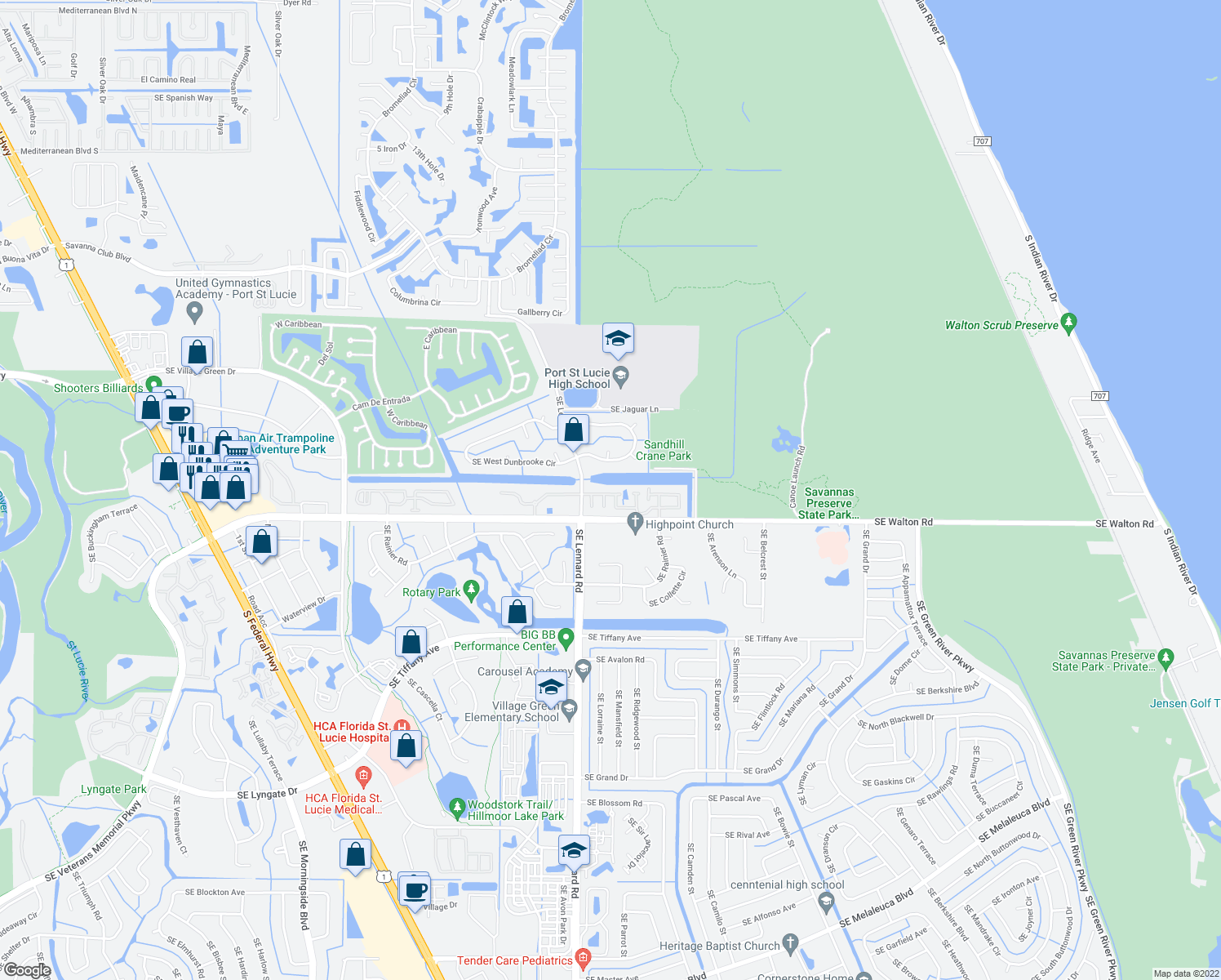 map of restaurants, bars, coffee shops, grocery stores, and more near 2264-2288 Southeast Barrington Street in Port St. Lucie