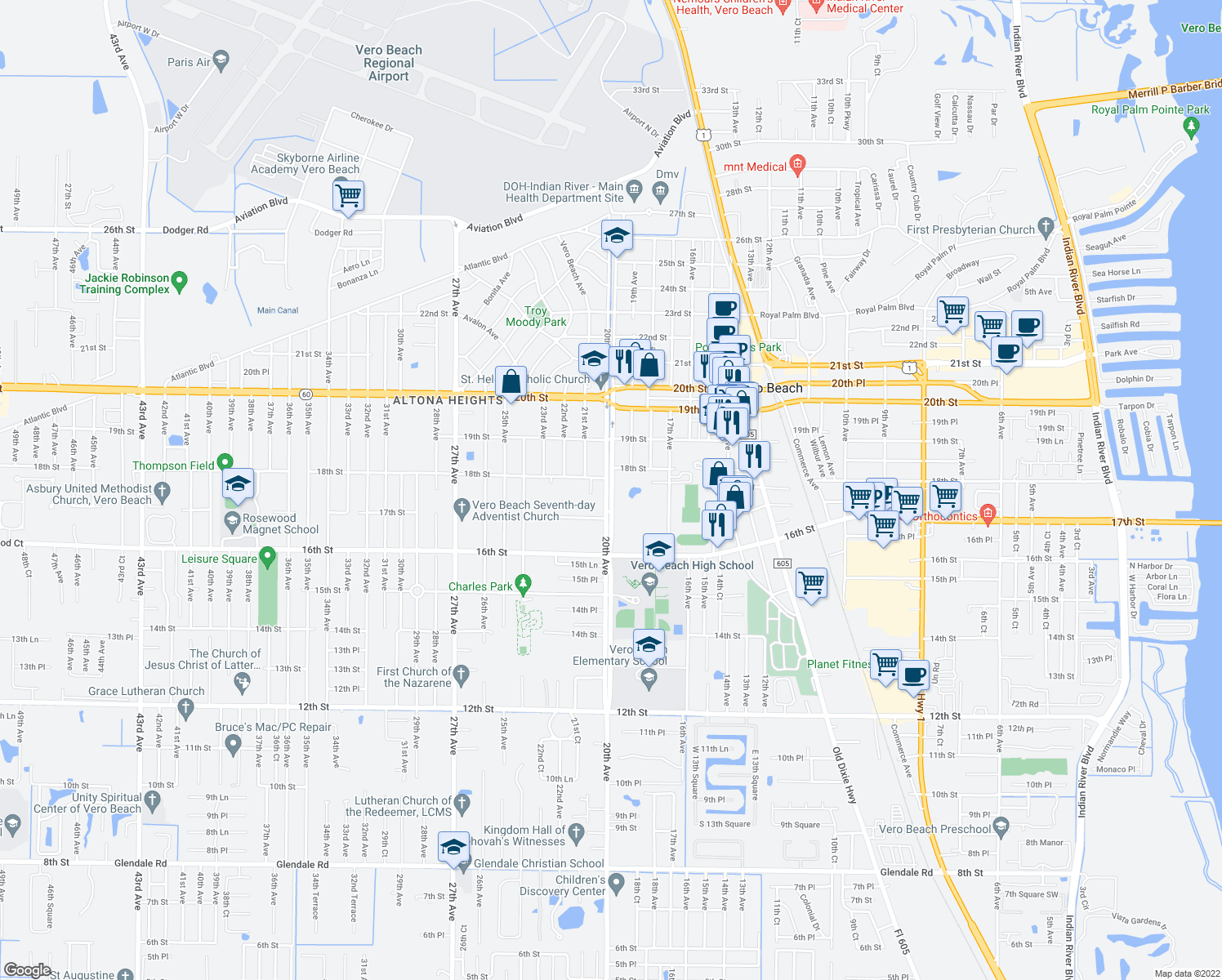 map of restaurants, bars, coffee shops, grocery stores, and more near 2000-2038 18th St in Vero Beach