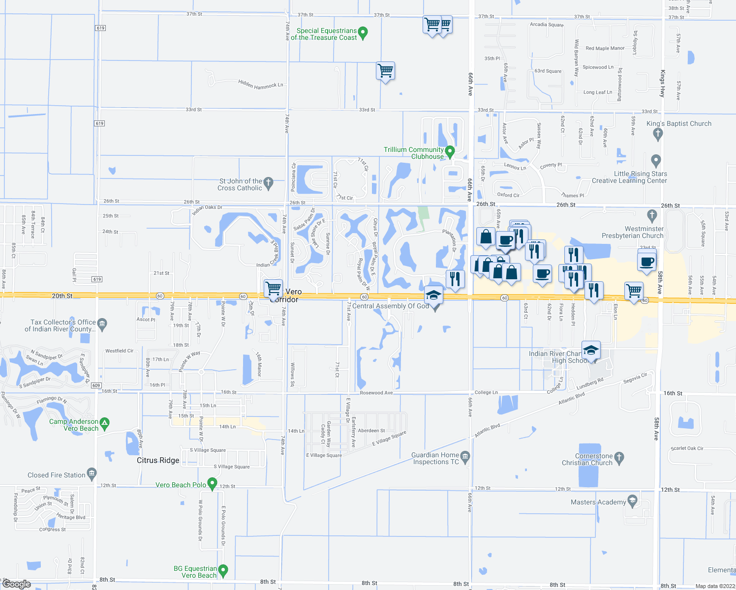 map of restaurants, bars, coffee shops, grocery stores, and more near 6979-6983 20th Street in Vero Beach