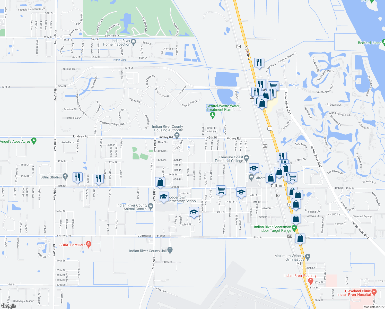 map of restaurants, bars, coffee shops, grocery stores, and more near 4700-4798 38th Court in Vero Beach