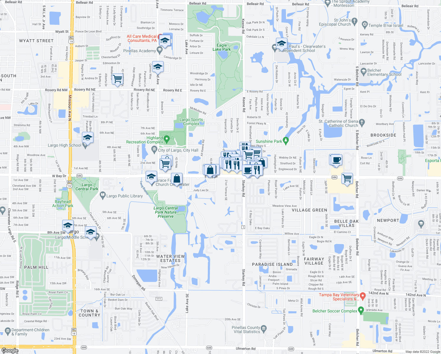 map of restaurants, bars, coffee shops, grocery stores, and more near 2047-2073 East Bay Drive in Largo