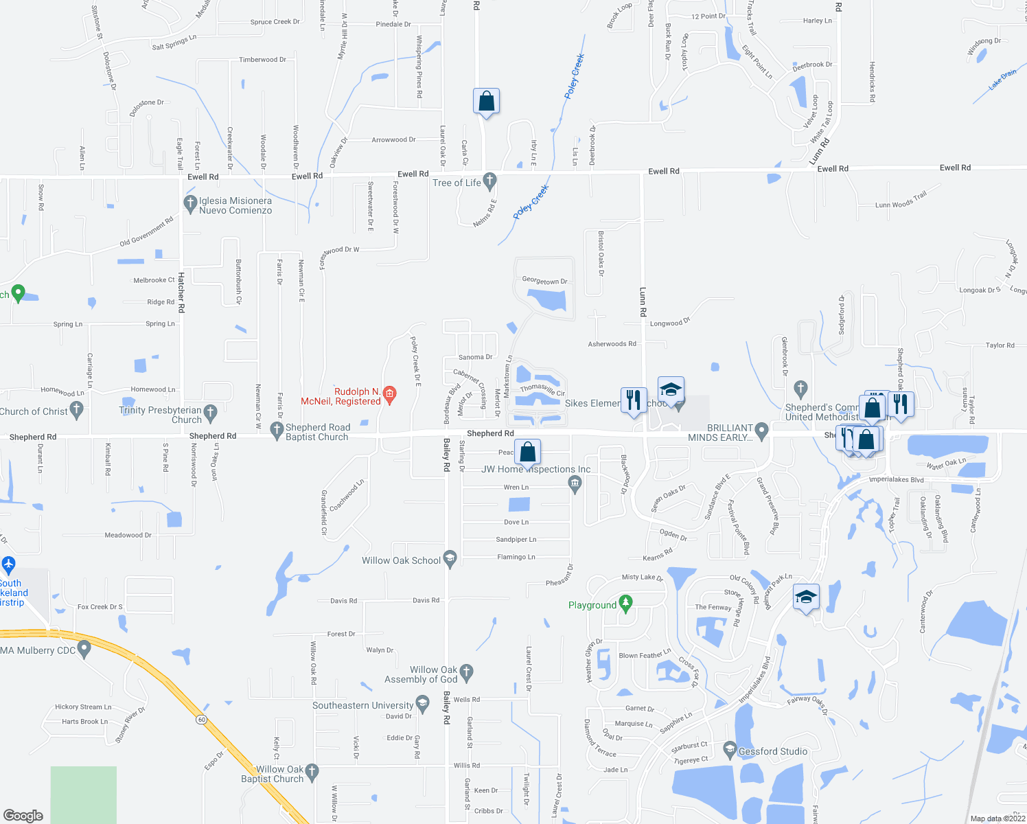map of restaurants, bars, coffee shops, grocery stores, and more near 1133 Markstown Lane in Lakeland