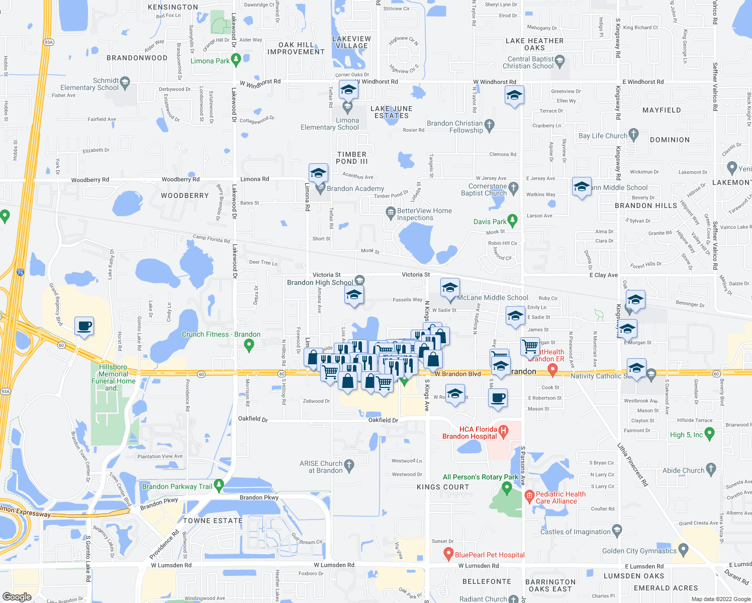 map of restaurants, bars, coffee shops, grocery stores, and more near 735 Pearl Circle in Brandon
