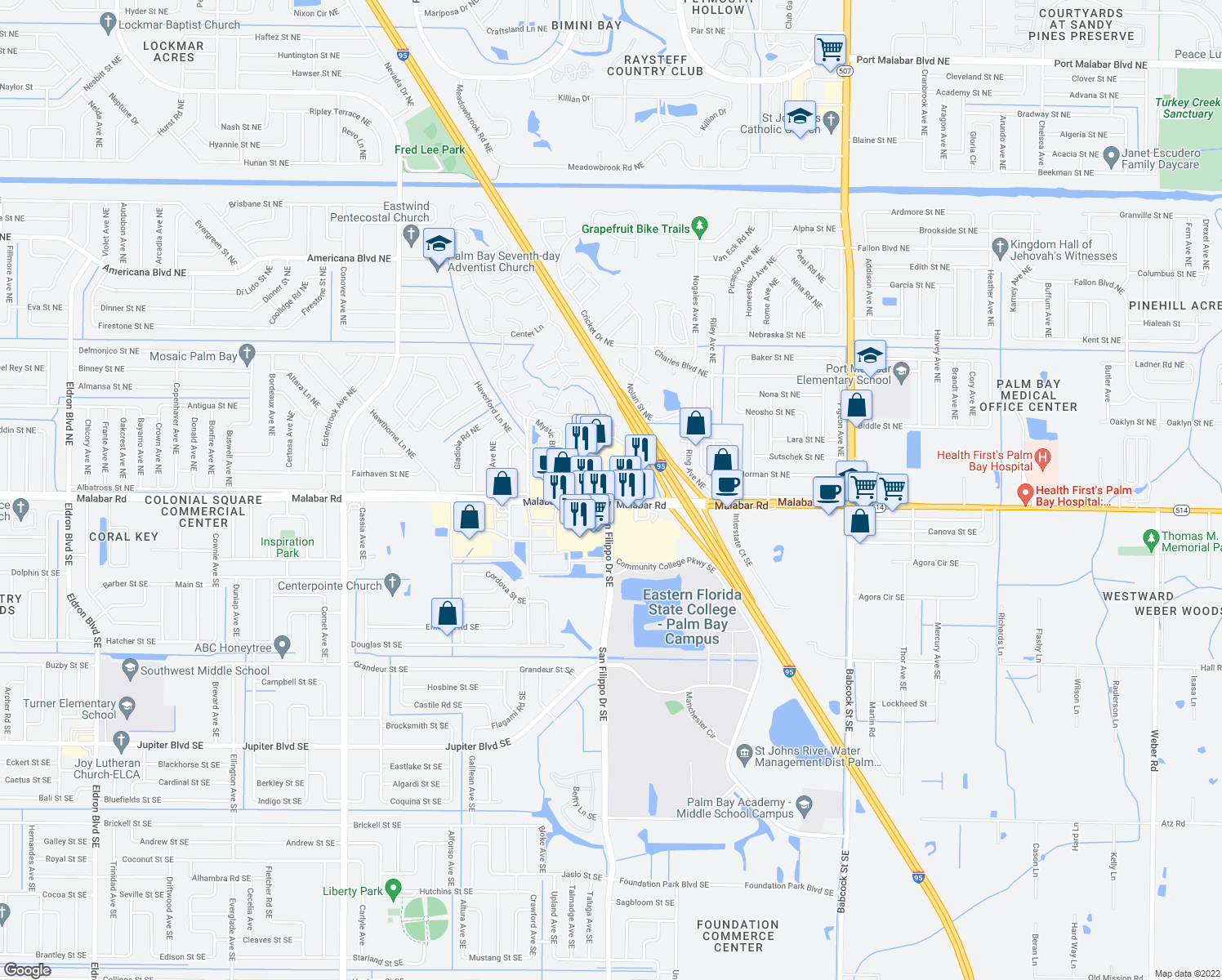 map of restaurants, bars, coffee shops, grocery stores, and more near 1159 Malabar Road Northeast in Palm Bay
