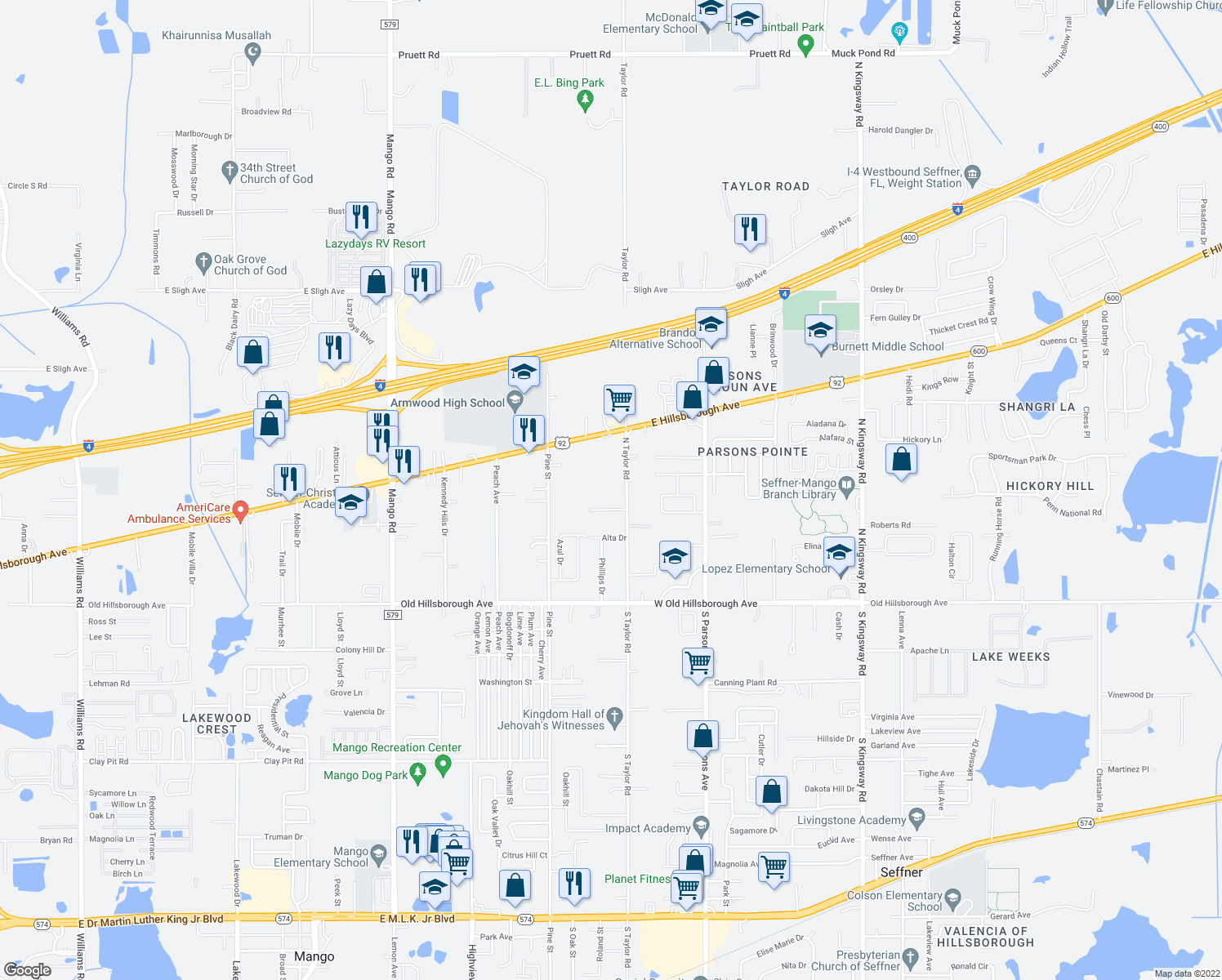 map of restaurants, bars, coffee shops, grocery stores, and more near in Seffner
