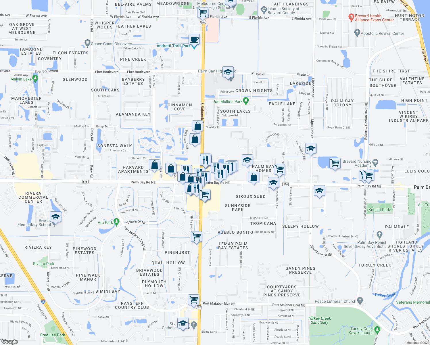 map of restaurants, bars, coffee shops, grocery stores, and more near 1530 Windwood Dr NE in Palm Bay