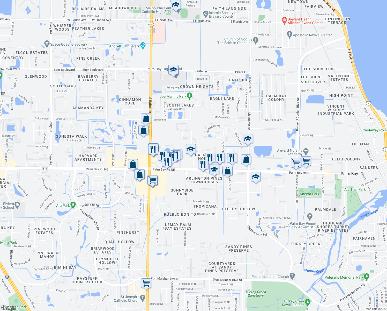 map of restaurants, bars, coffee shops, grocery stores, and more near 3016 Pinewood Drive Northeast in Palm Bay