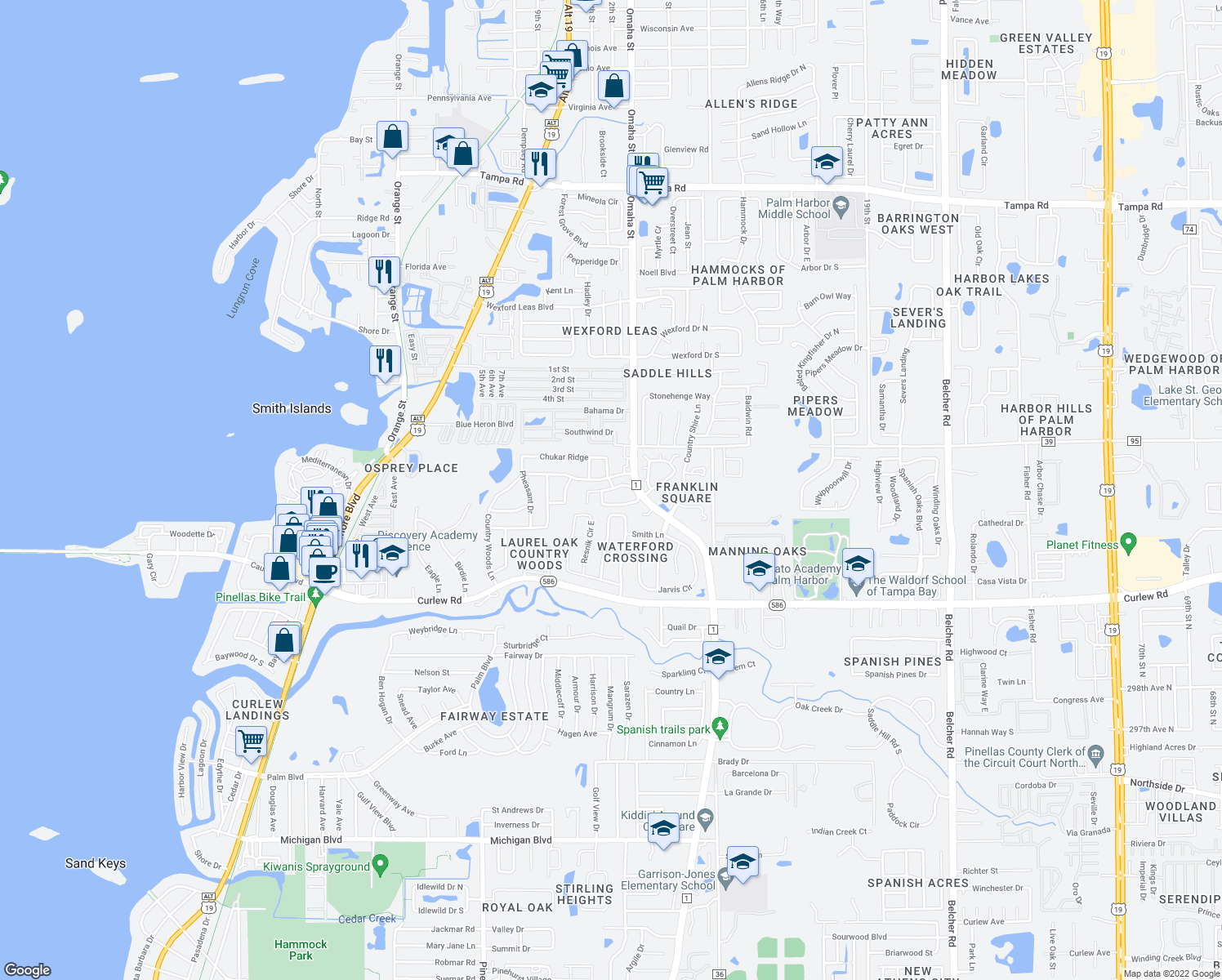 map of restaurants, bars, coffee shops, grocery stores, and more near 3017-3099 Country Woods Lane in Palm Harbor