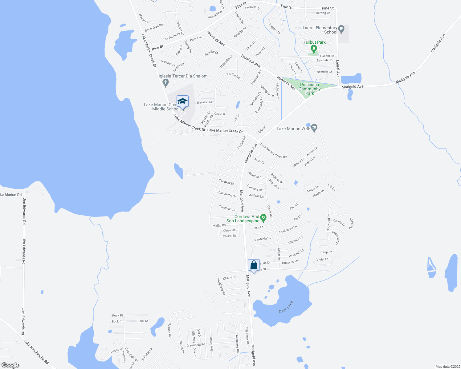 map of restaurants, bars, coffee shops, grocery stores, and more near 437 Bay Leaf Drive in Kissimmee