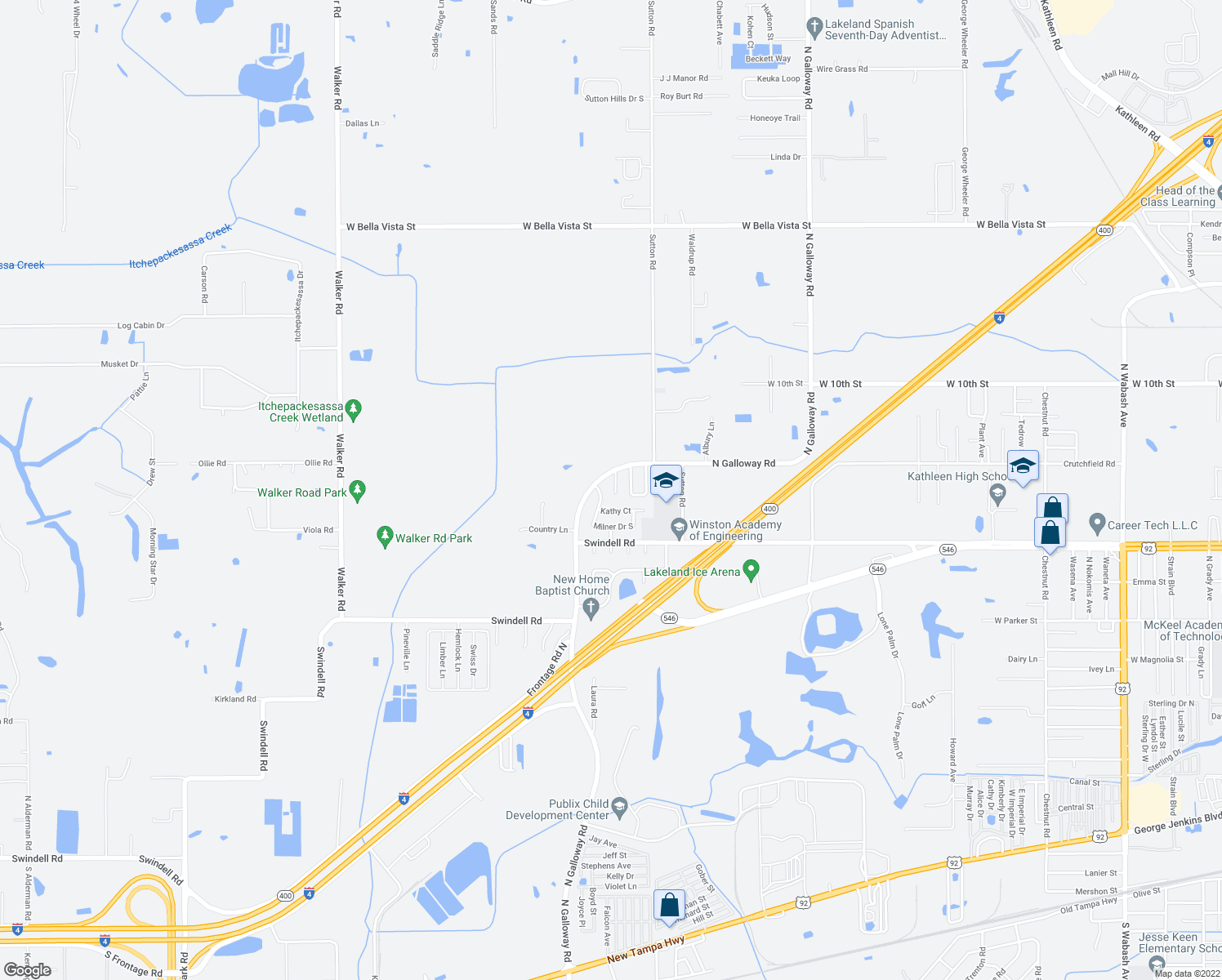 map of restaurants, bars, coffee shops, grocery stores, and more near 1127 Milner Drive West in Lakeland