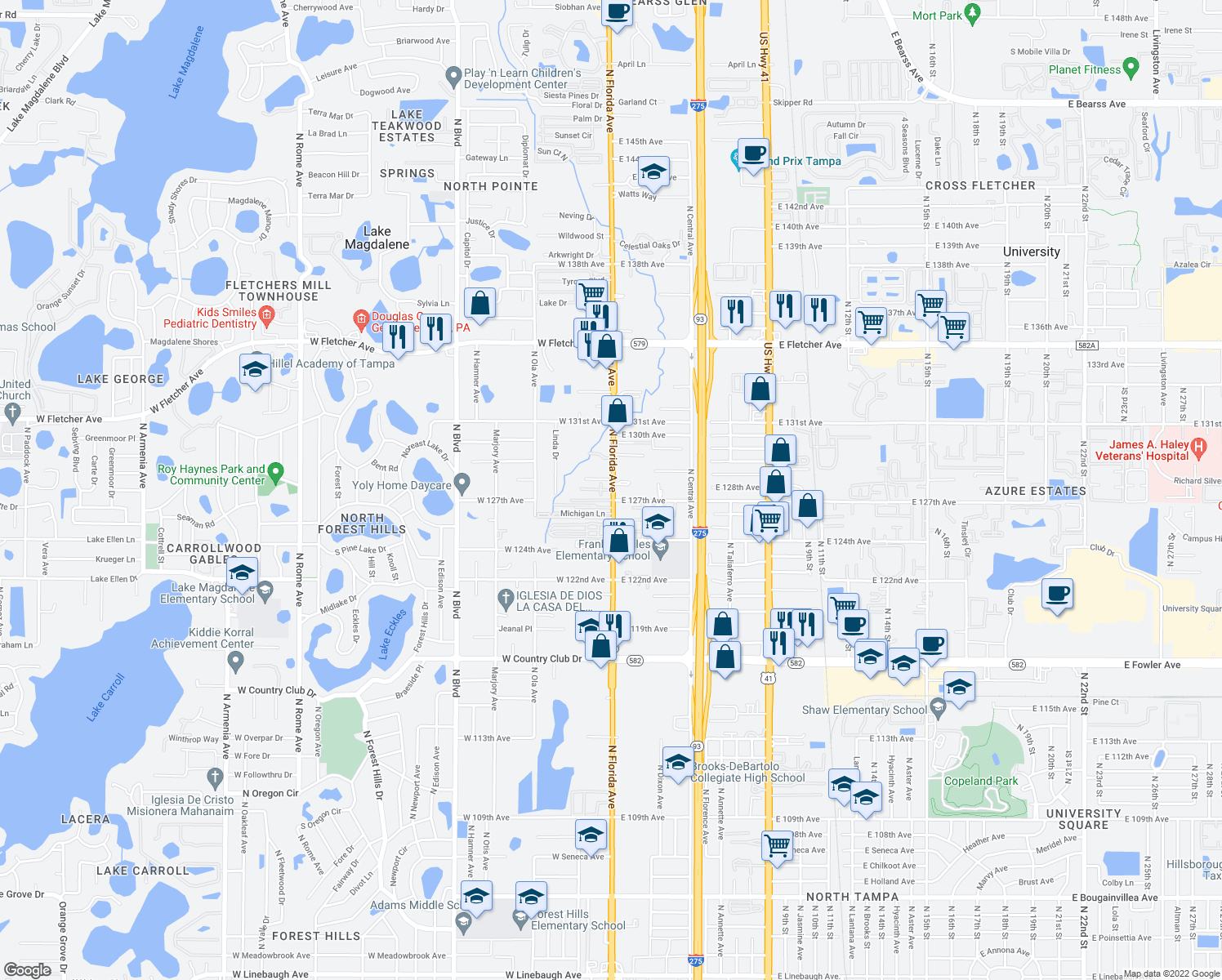 map of restaurants, bars, coffee shops, grocery stores, and more near in Lake Magdalene