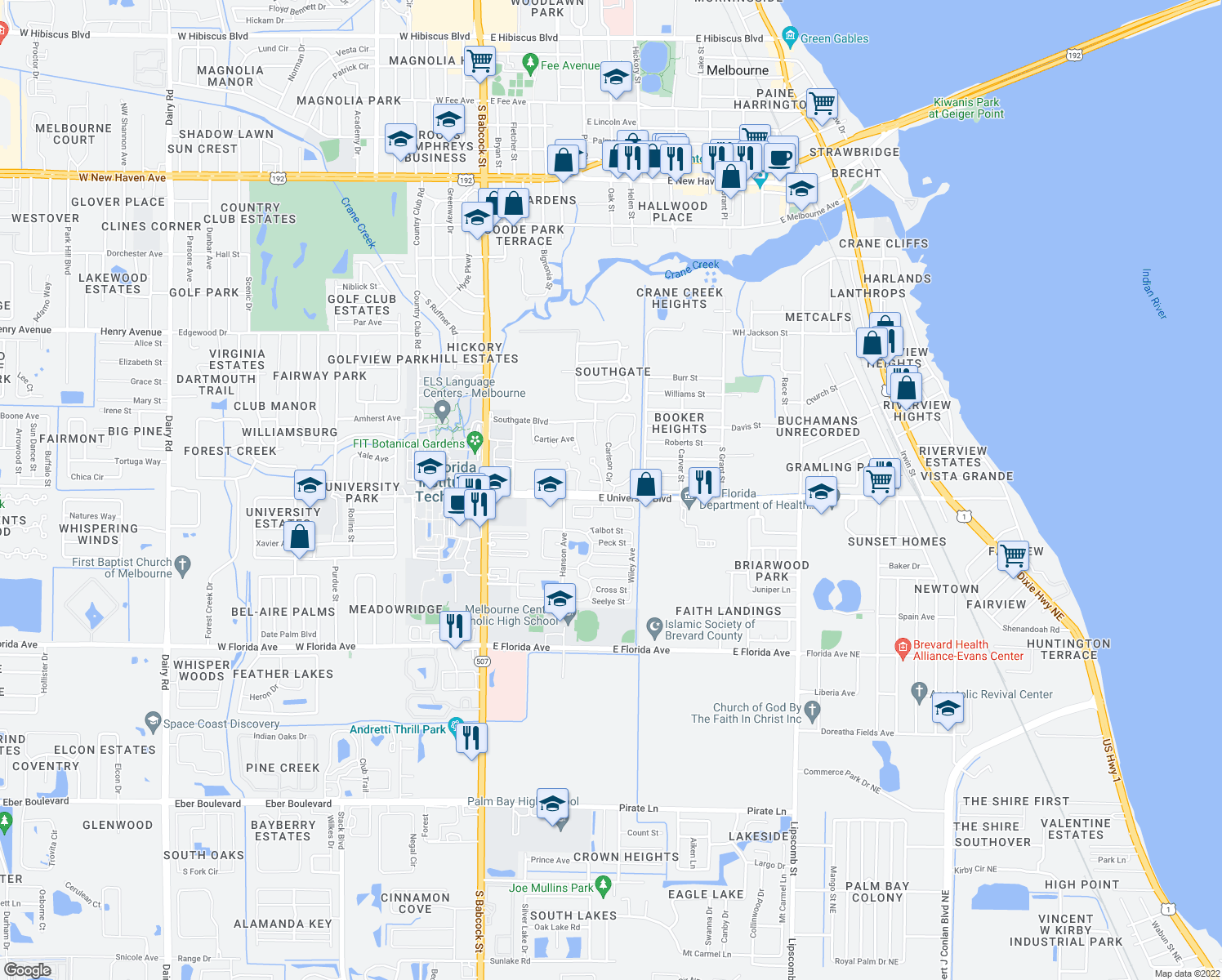 map of restaurants, bars, coffee shops, grocery stores, and more near 2700 Carlson Cir in Melbourne