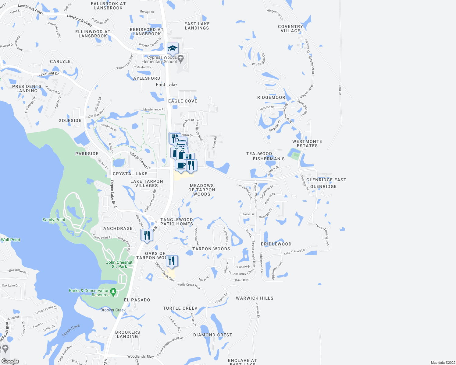 map of restaurants, bars, coffee shops, grocery stores, and more near in Palm Harbor