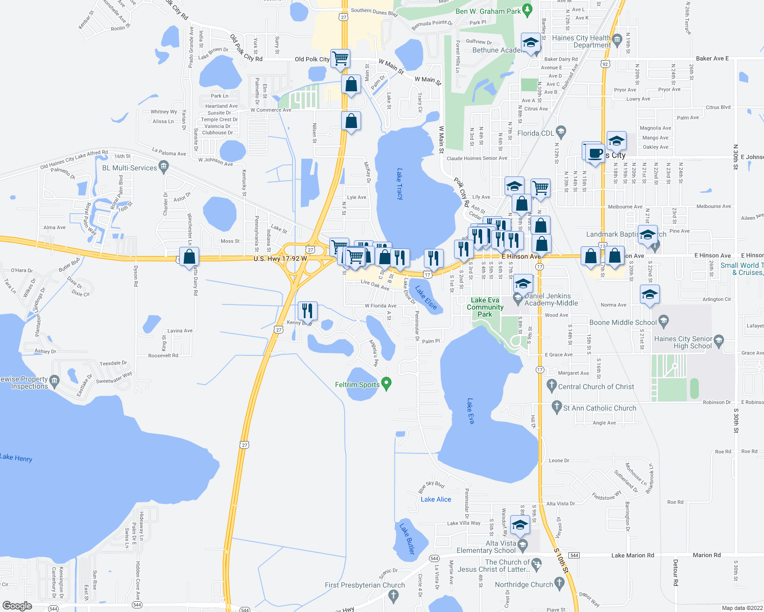 map of restaurants, bars, coffee shops, grocery stores, and more near West Florida Avenue in Haines City