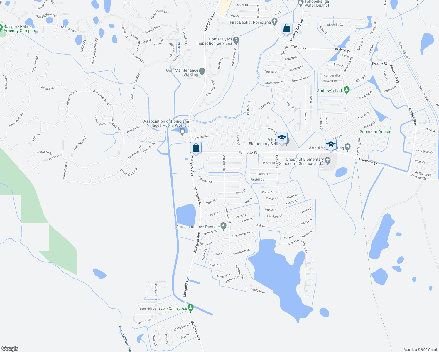map of restaurants, bars, coffee shops, grocery stores, and more near 412 Cardinal Court in Kissimmee