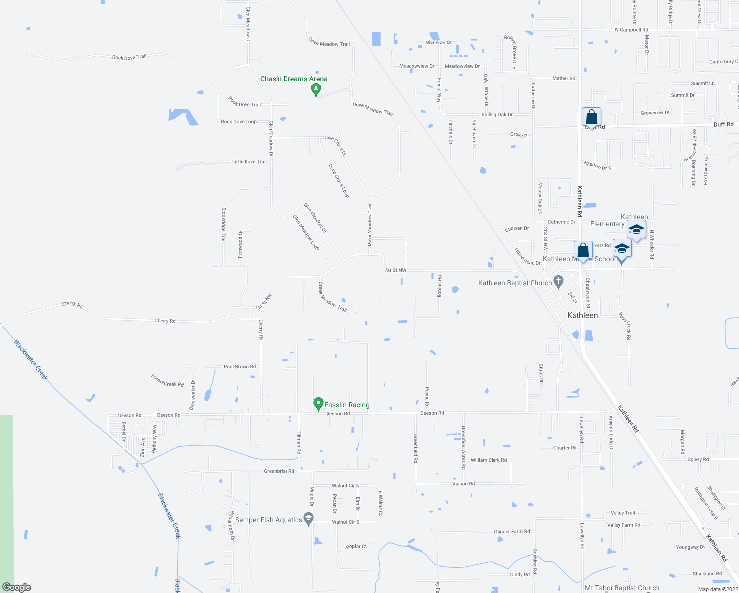 map of restaurants, bars, coffee shops, grocery stores, and more near 4622 Creek Meadow Trail in Lakeland