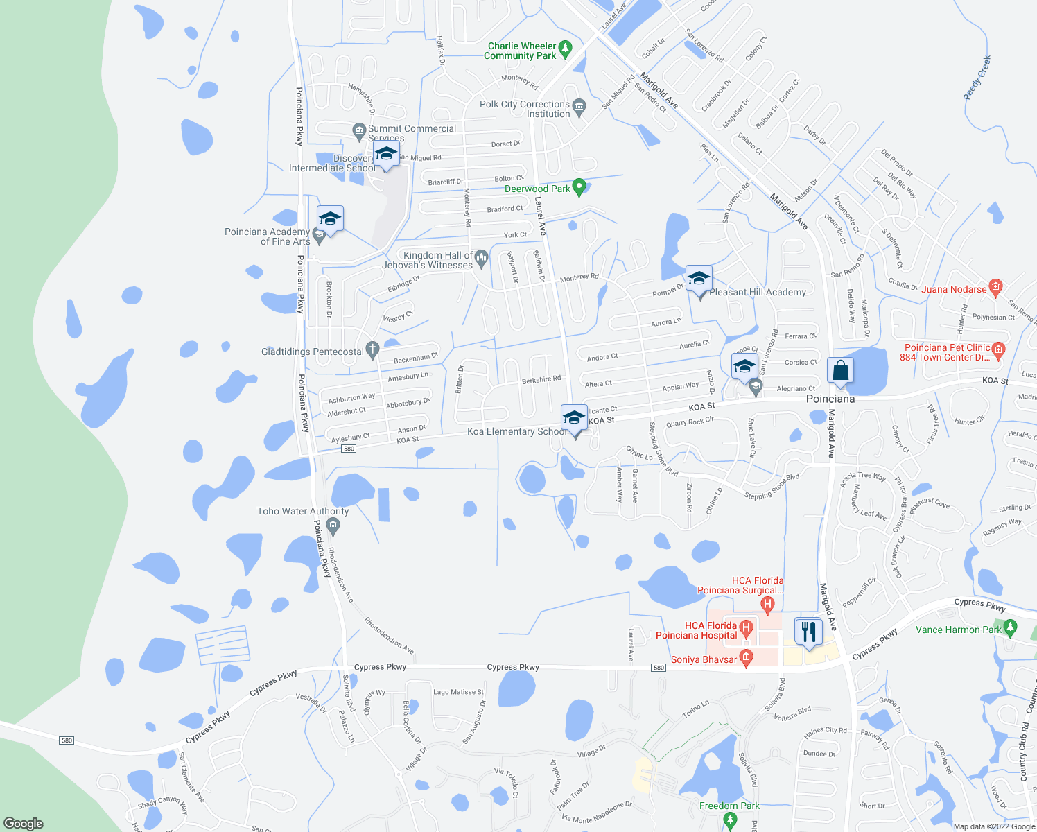 map of restaurants, bars, coffee shops, grocery stores, and more near 126 Brixham Court in Kissimmee