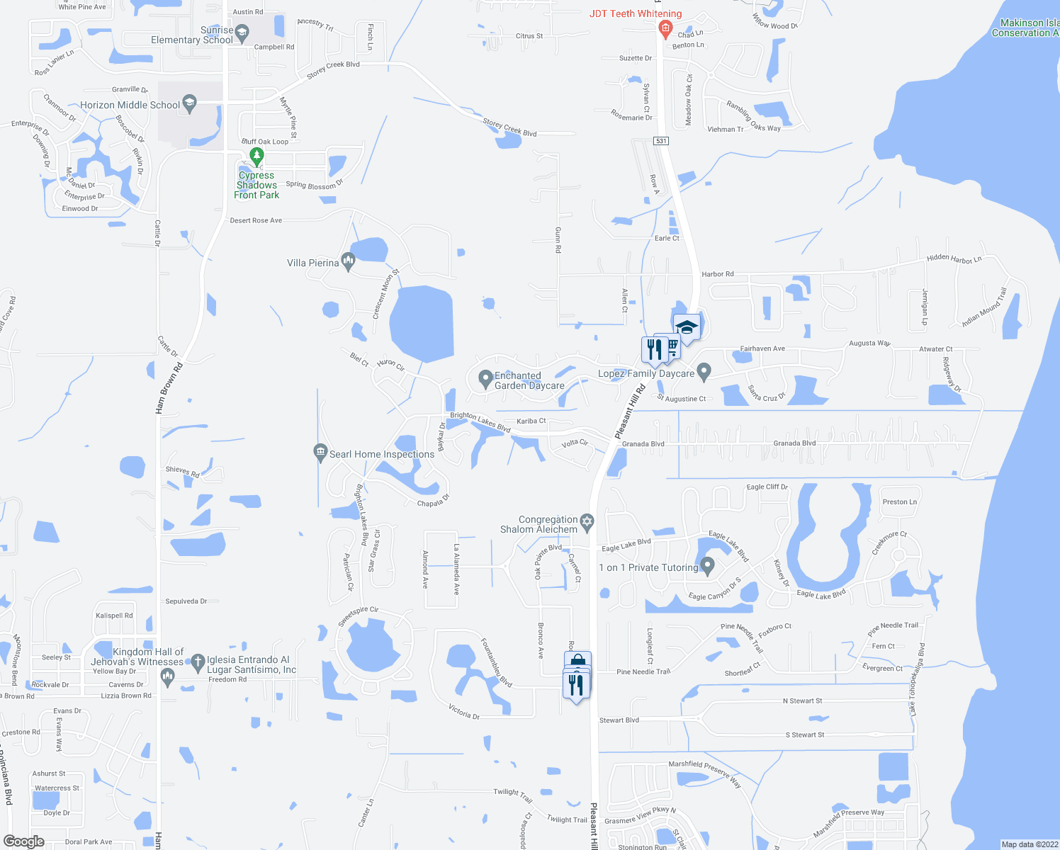 map of restaurants, bars, coffee shops, grocery stores, and more near 3626 Kariba Court in Kissimmee