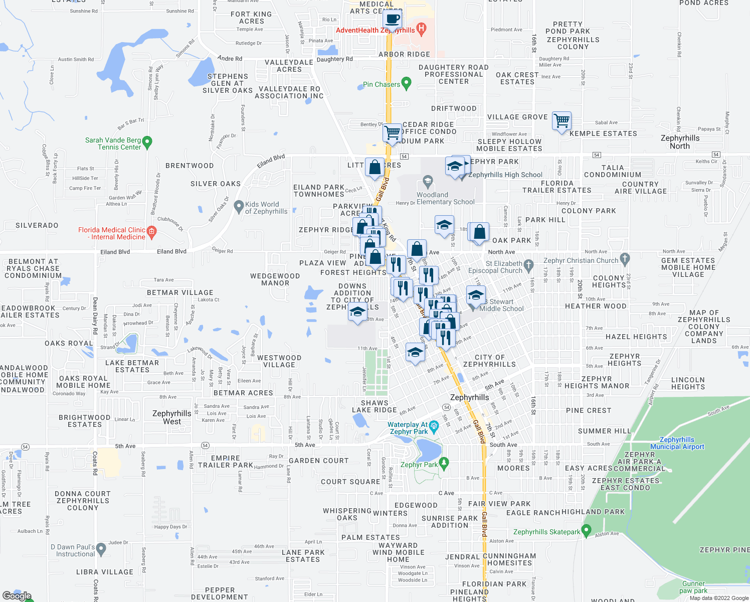 map of restaurants, bars, coffee shops, grocery stores, and more near 37833 14th Ave in Zephyrhills