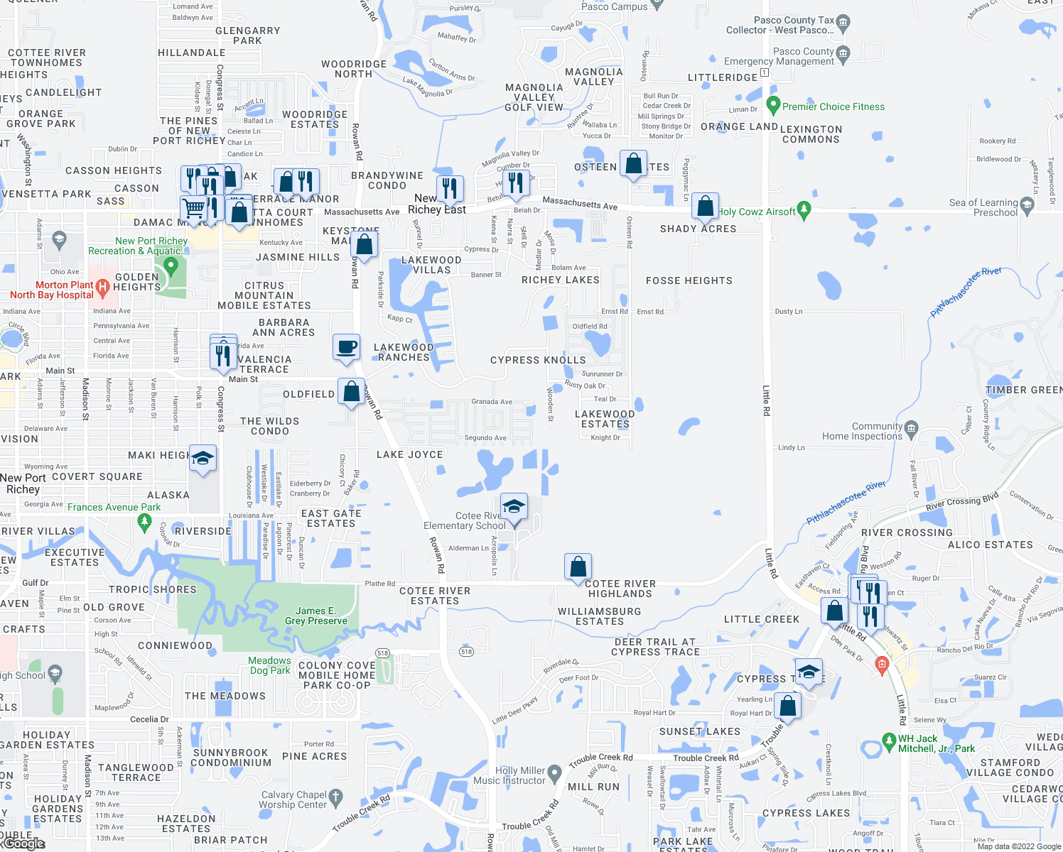 map of restaurants, bars, coffee shops, grocery stores, and more near La Paz Court in New Port Richey