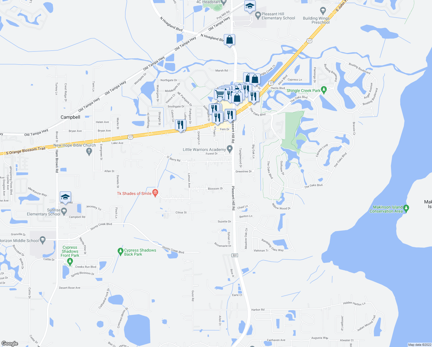 map of restaurants, bars, coffee shops, grocery stores, and more near 3415 Blossom Street in Kissimmee