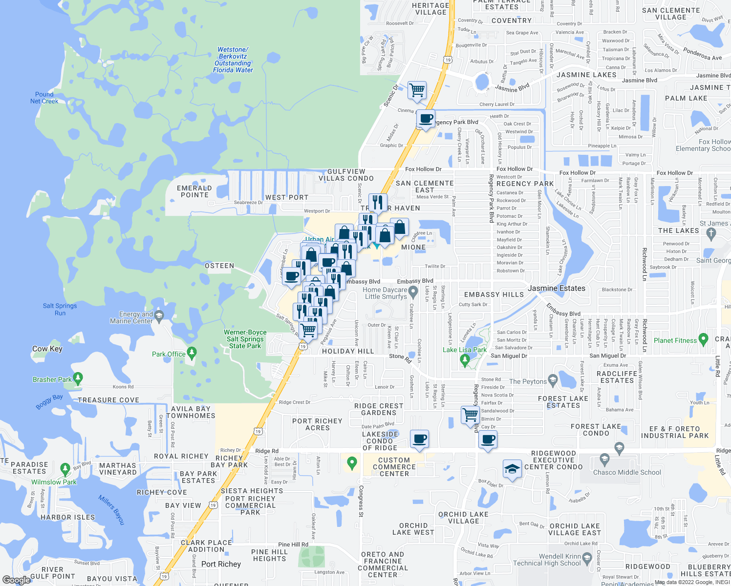 map of restaurants, bars, coffee shops, grocery stores, and more near Valleyview Lane in Port Richey