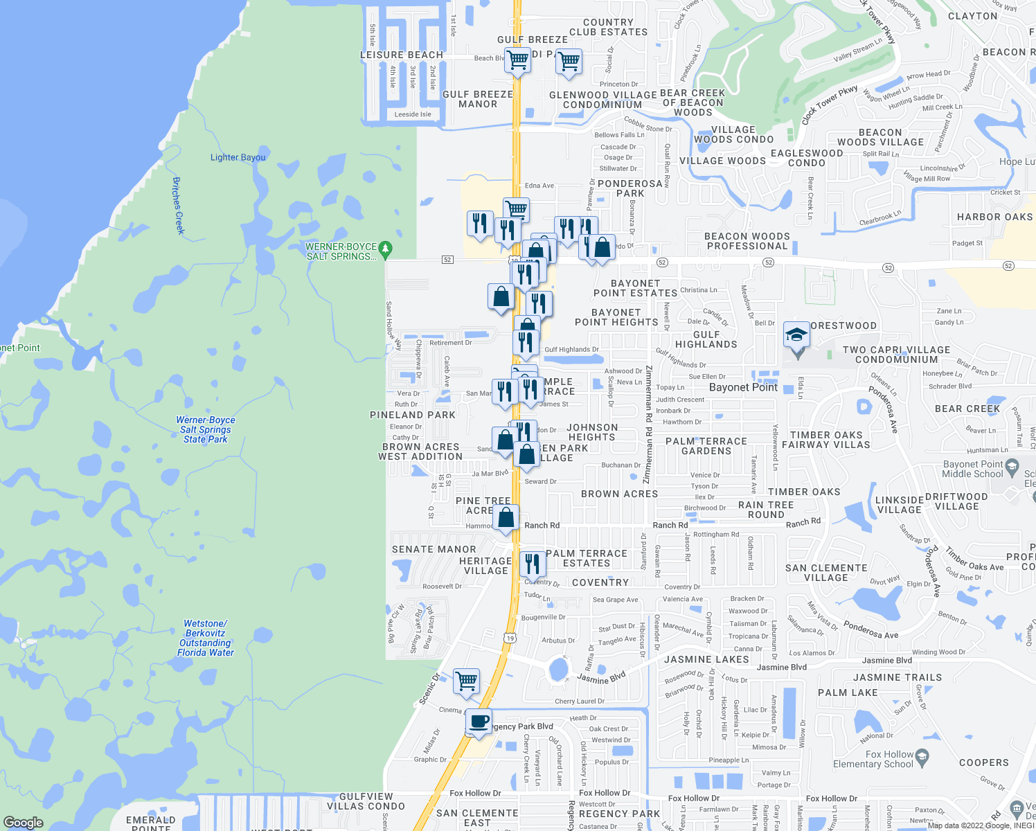 map of restaurants, bars, coffee shops, grocery stores, and more near 11327-11339 Florida 55 in Port Richey