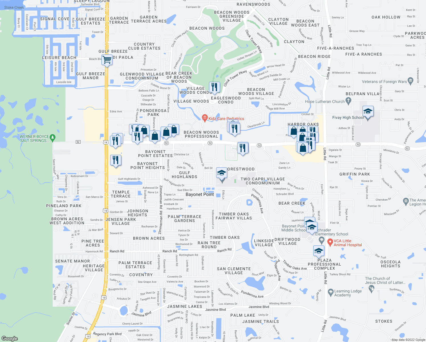 map of restaurants, bars, coffee shops, grocery stores, and more near 11710 Paige Drive in Port Richey