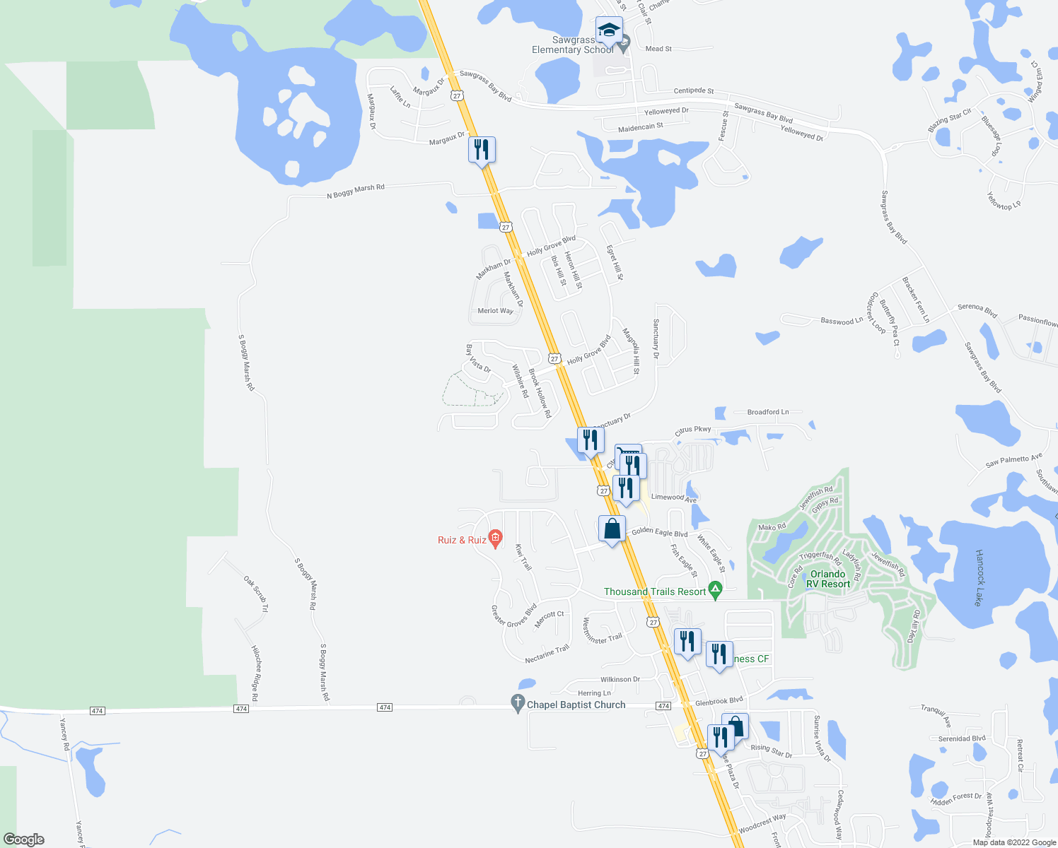 map of restaurants, bars, coffee shops, grocery stores, and more near 15742 Autumn Glen Avenue in Clermont