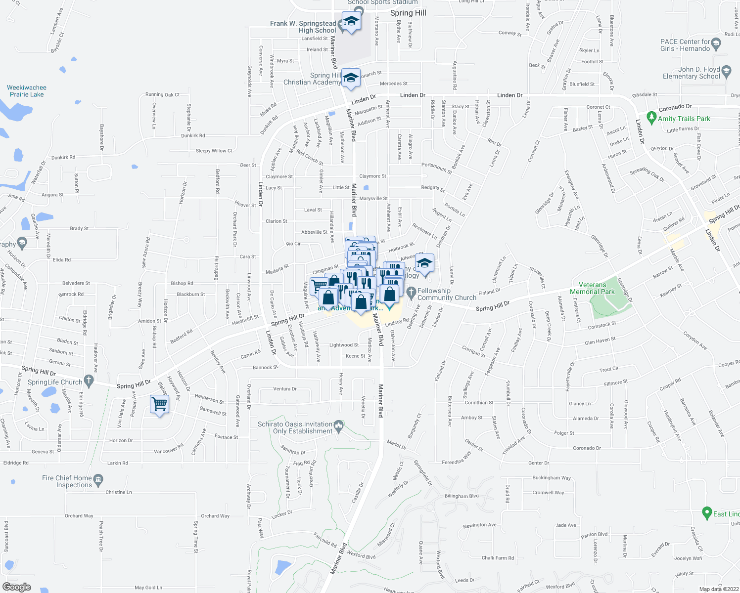 map of restaurants, bars, coffee shops, grocery stores, and more near Spring Hill Dr & Mariner Blvd in Spring Hill