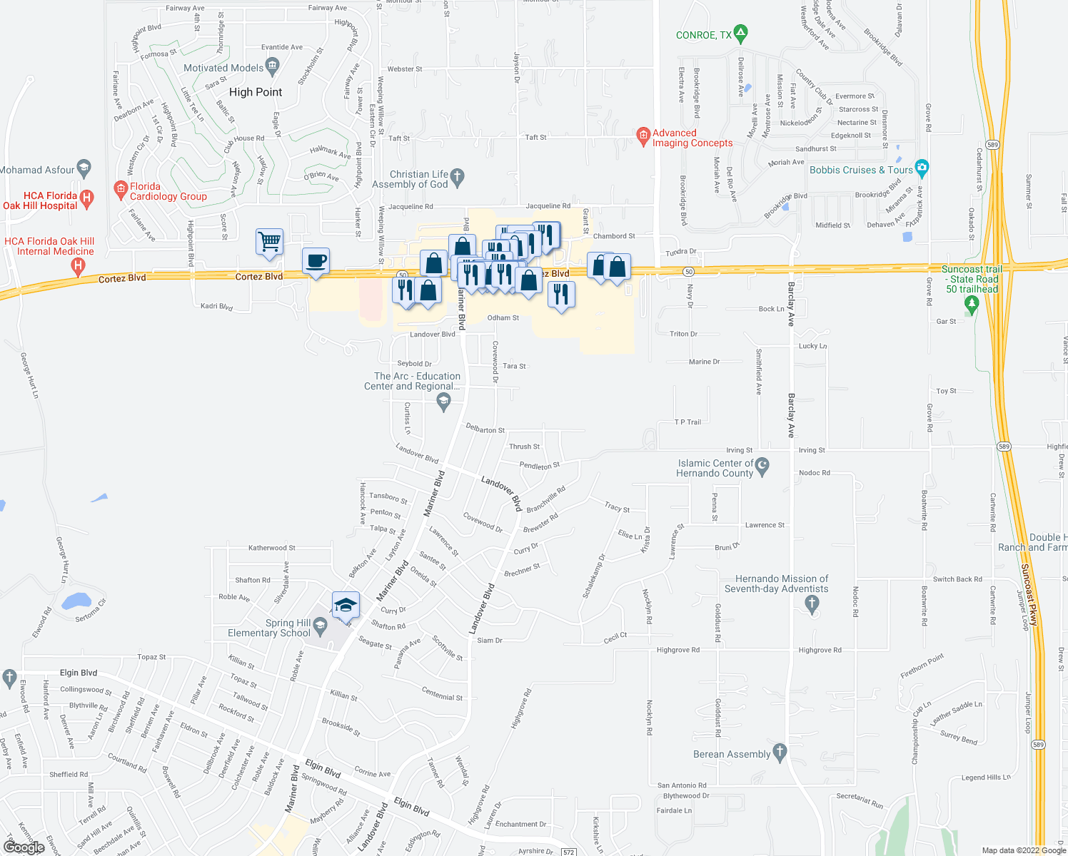 map of restaurants, bars, coffee shops, grocery stores, and more near 13179 Delbarton Street in Spring Hill