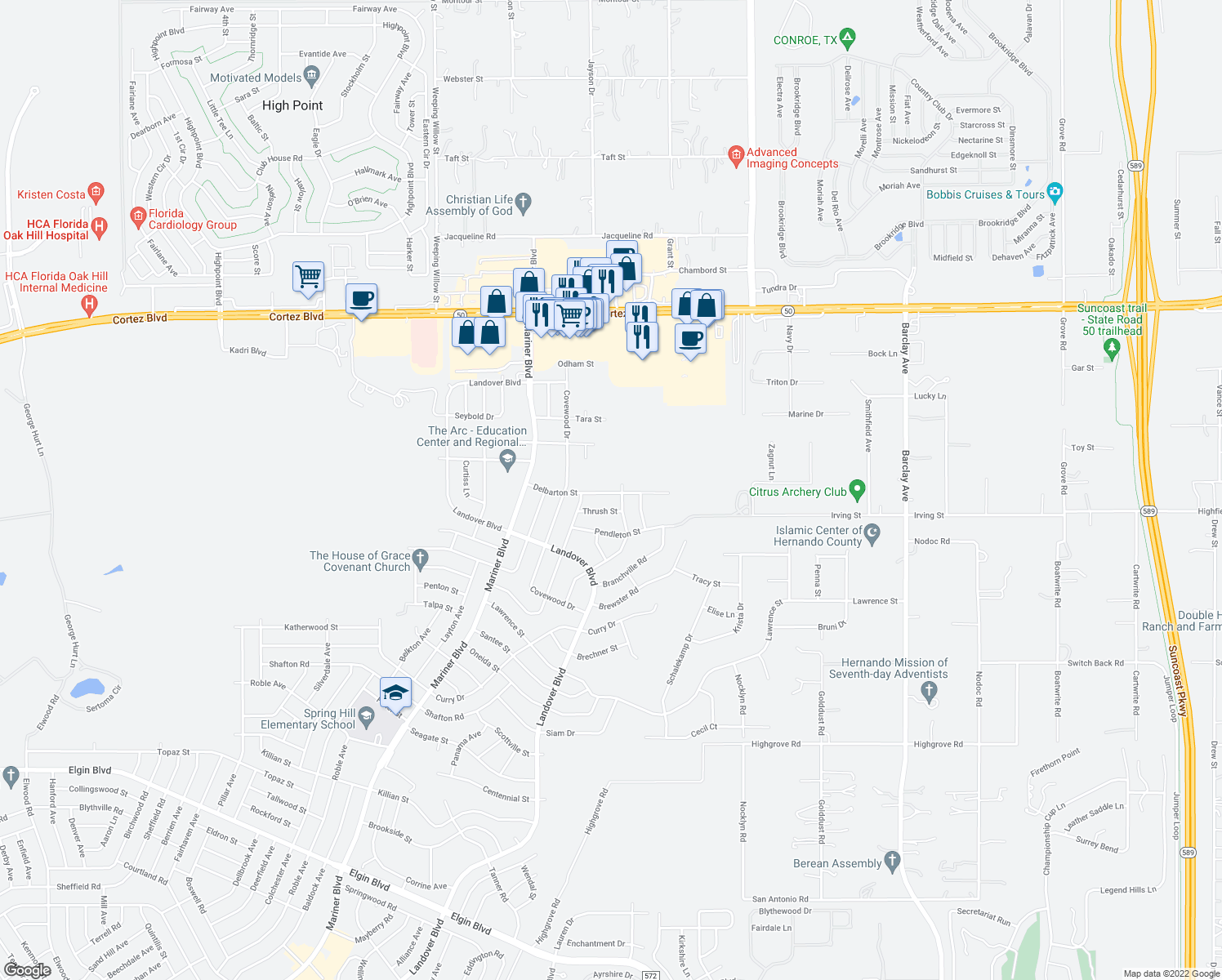 map of restaurants, bars, coffee shops, grocery stores, and more near 13179 Delbarton St in Spring Hill