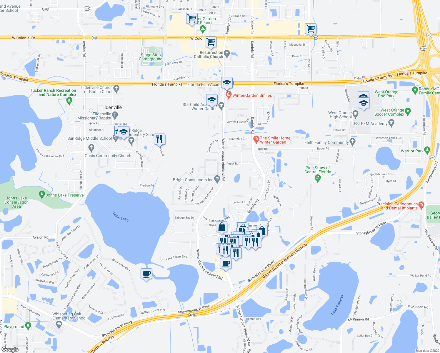 map of restaurants, bars, coffee shops, grocery stores, and more near 517 Cascading Creek Ln in Winter Garden