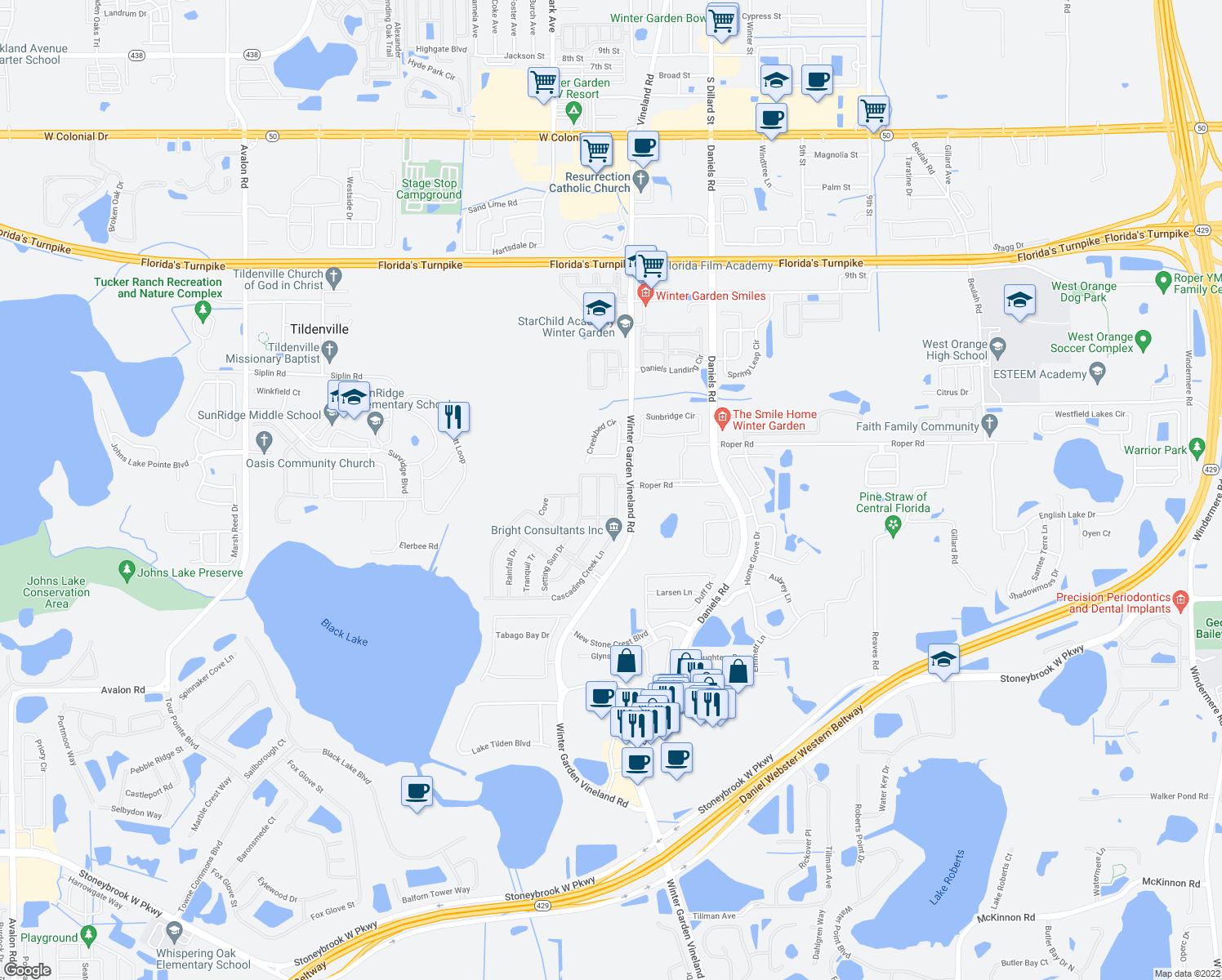 map of restaurants, bars, coffee shops, grocery stores, and more near 526 1st Cape Coral Dr in Winter Garden