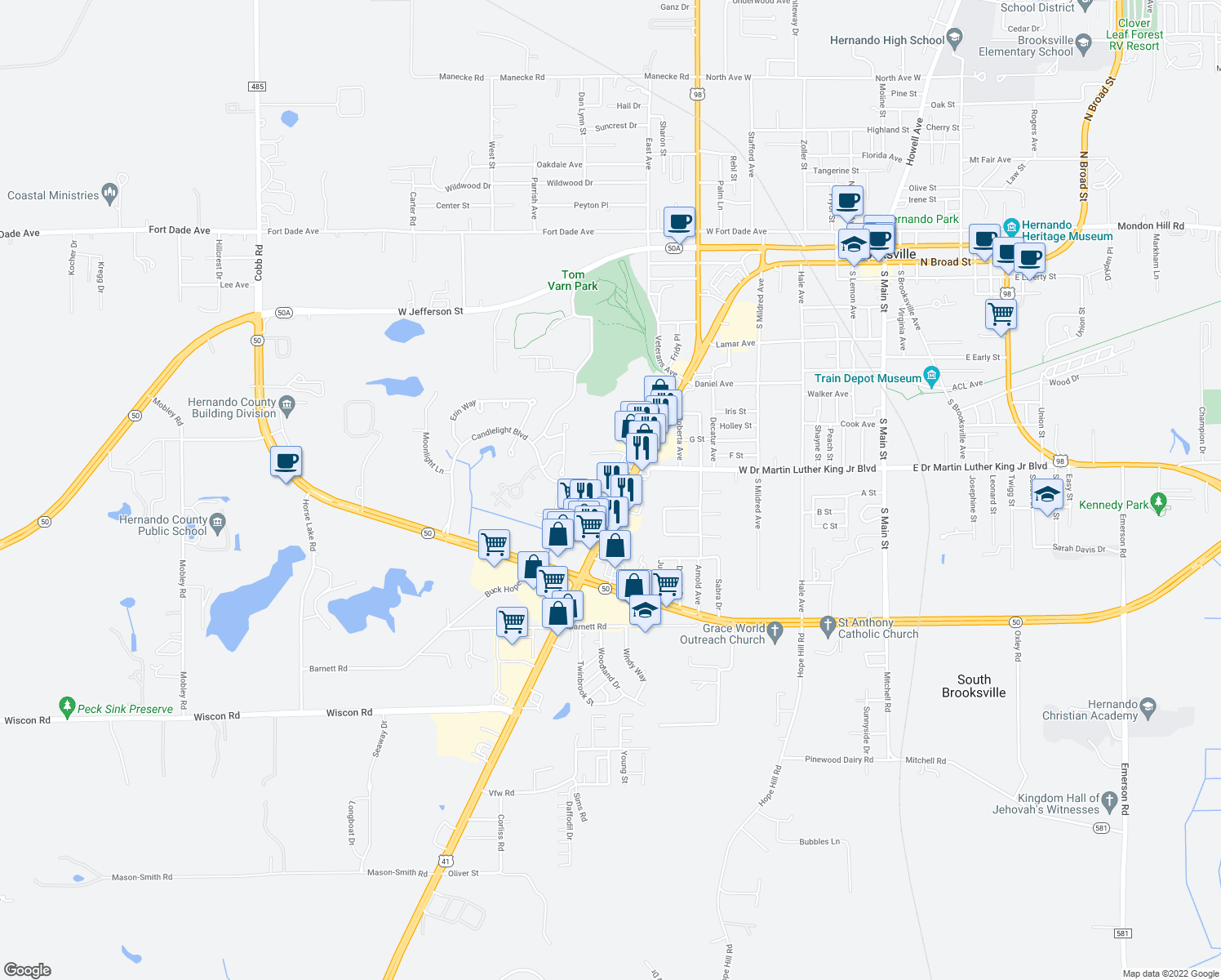 map of restaurants, bars, coffee shops, grocery stores, and more near 924 Candlelight Blvd in Brooksville