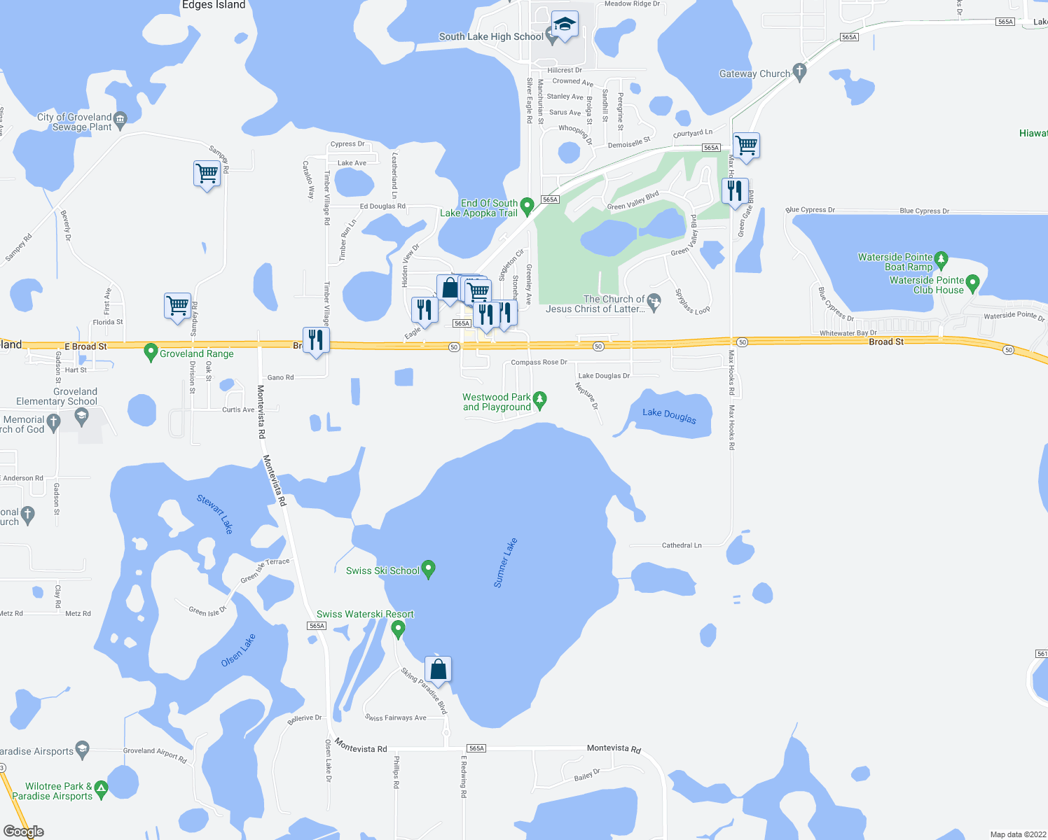 map of restaurants, bars, coffee shops, grocery stores, and more near 536 Lake Sumner Dr in Groveland