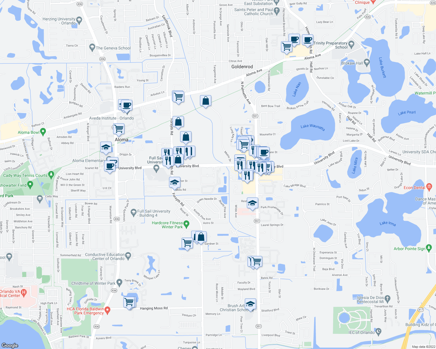 map of restaurants, bars, coffee shops, grocery stores, and more near 3935 Sutton Place Boulevard in Winter Park