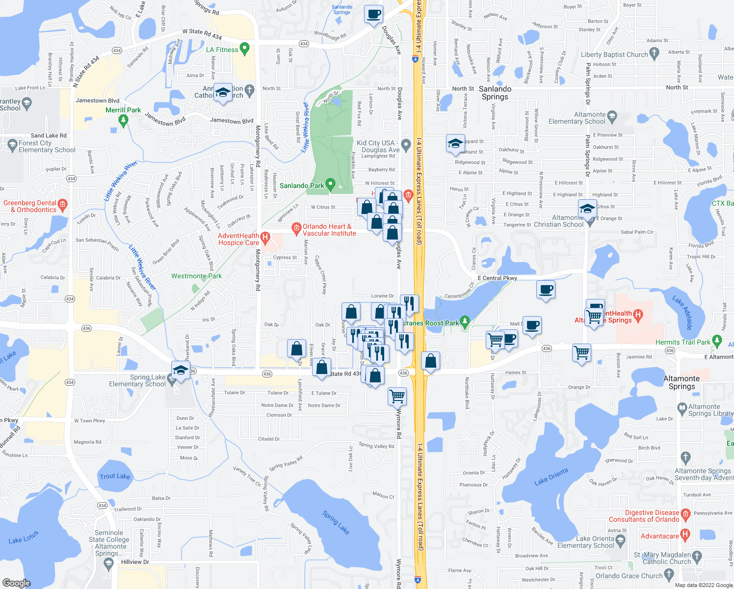map of restaurants, bars, coffee shops, grocery stores, and more near 291-299 Lorraine Drive in Altamonte Springs