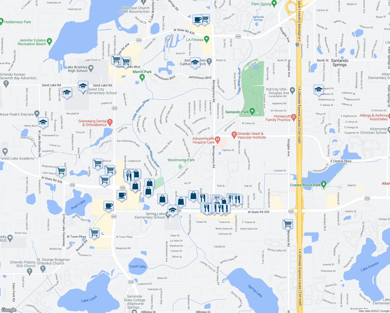 map of restaurants, bars, coffee shops, grocery stores, and more near Seminole Wekiva Trail in Altamonte Springs