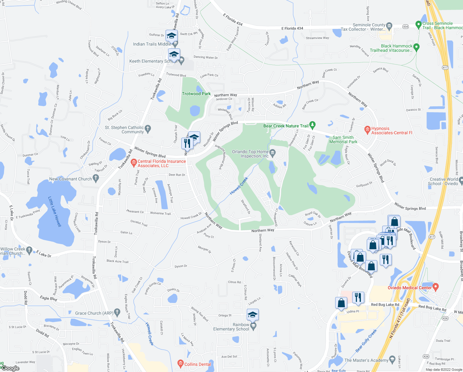 map of restaurants, bars, coffee shops, grocery stores, and more near 1060 East Pebble Beach Circle in Winter Springs