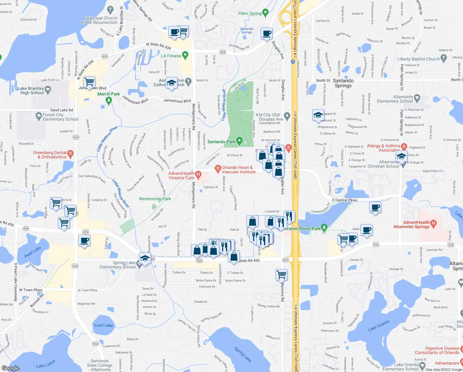 map of restaurants, bars, coffee shops, grocery stores, and more near 599 Cal