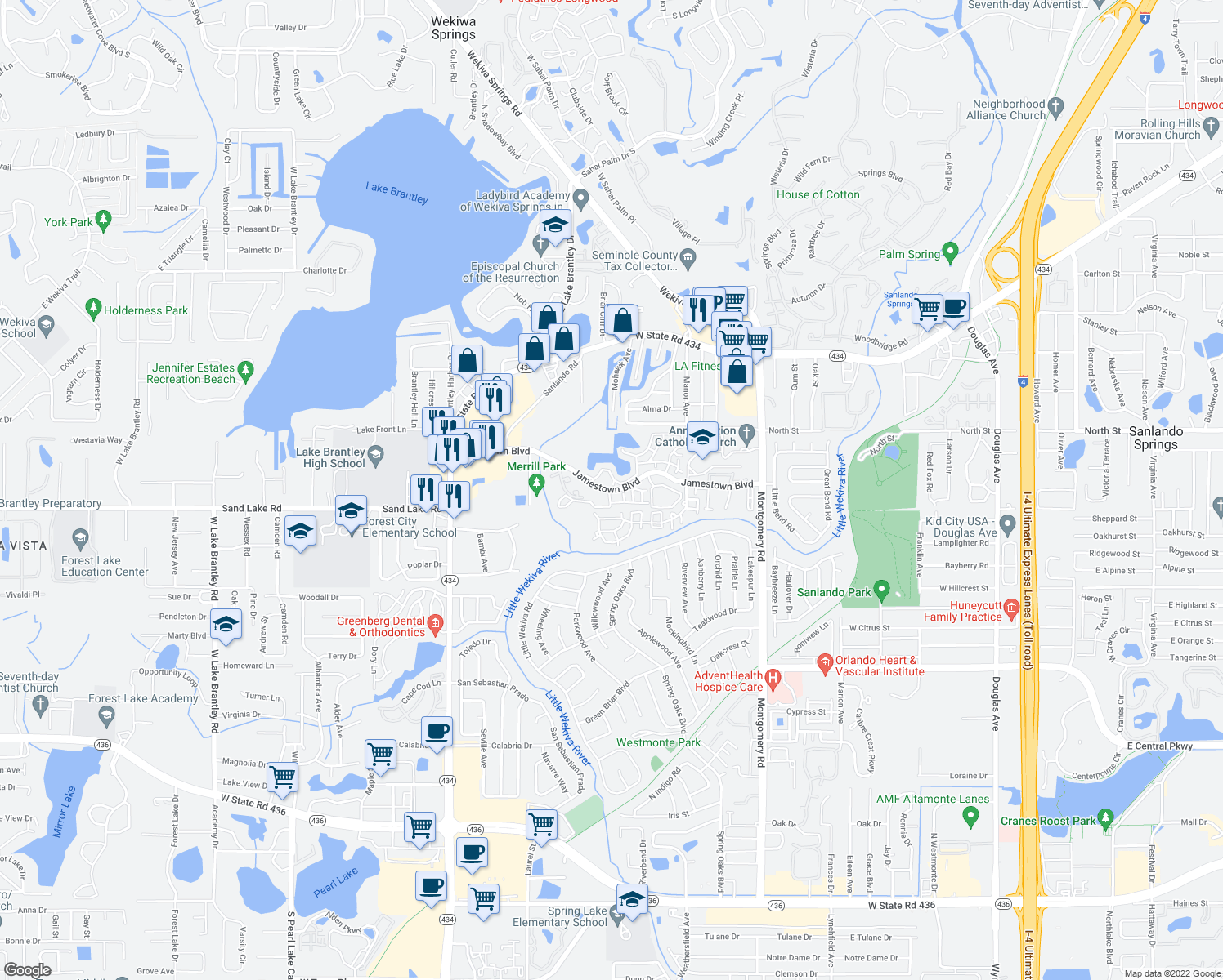 map of restaurants, bars, coffee shops, grocery stores, and more near 724-798 Raymond Cir in Altamonte Springs