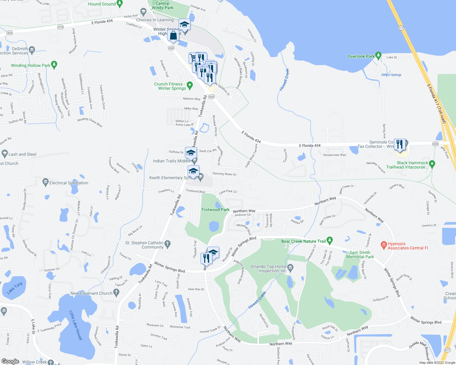 map of restaurants, bars, coffee shops, grocery stores, and more near 698 Casa Park J Court in Winter Springs