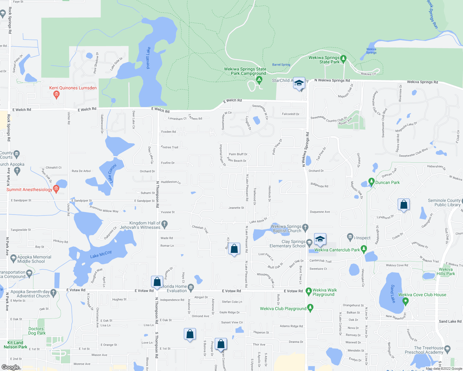 map of restaurants, bars, coffee shops, grocery stores, and more near 811 Swaying Palm Drive in Apopka