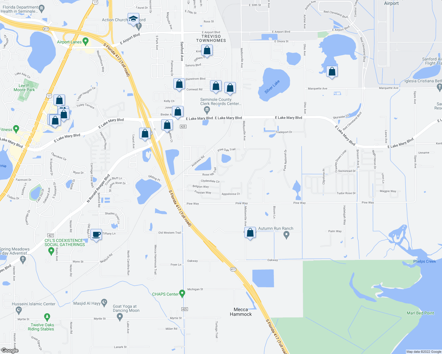map of restaurants, bars, coffee shops, grocery stores, and more near 1511 Little Gem Loop in Sanford
