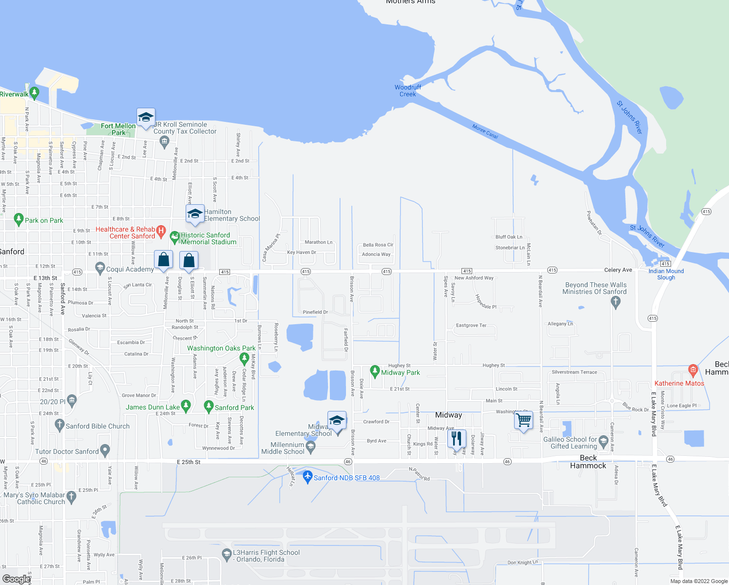 map of restaurants, bars, coffee shops, grocery stores, and more near 2100-2152 Lili Petal in Sanford