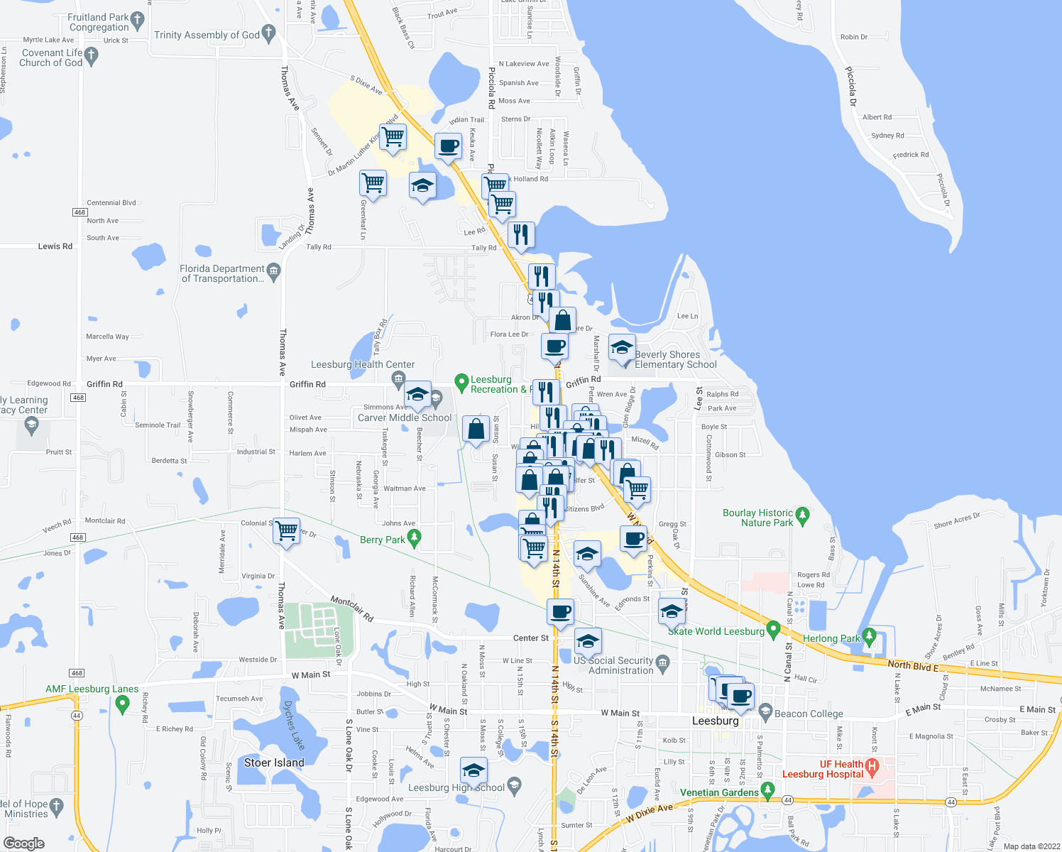 map of restaurants, bars, coffee shops, grocery stores, and more near 1419 Hill Street in Leesburg